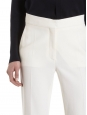 Ivory white wool-twill slim fit pants Retail price $560 Size 36
