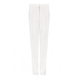 Pantalon slim fit à pli en crêpe de laine blanc ivoire Px boutique $560 Taille 36