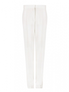Ivory white wool-twill slim fit pants Retail price $560 Size 36