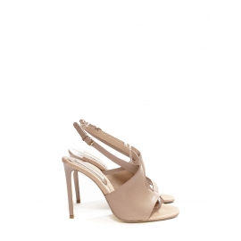 Nude faux leather heeled ankle strap sandals Retail price €600 Size 40