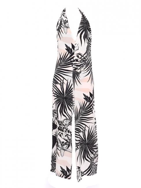 Combinaison pantalon dos nu en soie imprimé tropical rose gris blanc noir Px boutique 1000€ Taille 36