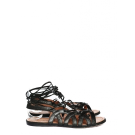 Black cut out leather laced up flat sandals Retail price €750 Size 37