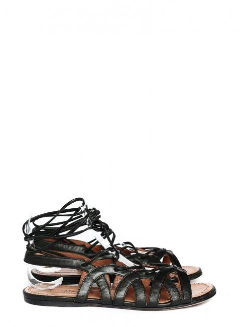 Sandales plates gladiator lacées en cuir noir Prix boutique 750€ Taille 37