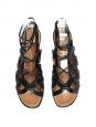 Sandales plates en cuir découpé noir Px boutique 750€ Taille 37