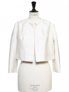 Ivory white radzimir bolero cropped jacket Retail price $1695 Size 40