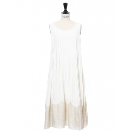 Ivory white silk crepe pleated cocktail or bridal dress Retail price €2000 Size 36/38