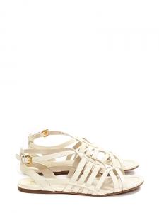 Cream white leather Gladiator flat sandals Retail price €550 Size 38