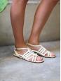 Sandales plates Gladiator en cuir blanc crème Px boutique 550€ Taille 38