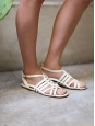 Cream white leather Gladiator flat sandals Retail price €550 Size 38