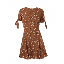 MARCH brown silk printed with white flowers short sleeved skater dress Size XS