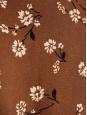 REFORMATION Robe March manches courtes cintrée en soie marron imprimée fleurie blanc Taille XXS