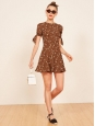 MARCH brown silk printed with white flowers short sleeved skater dress Size XXS