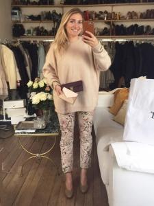 Jean slim fit imprimé fleuri beige rose et bordeaux Prix boutique 260€ Taille 36