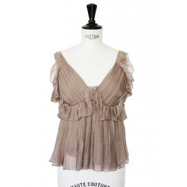 Top en mousseline de soie plissée marron noisette Px boutique 1400€ Taille 34
