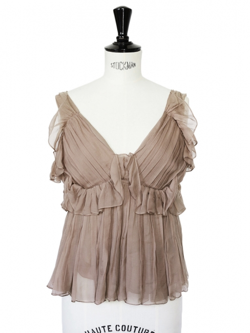 Nut brown ruffled and pleated silk chiffon top Retail price €1400 Size 34