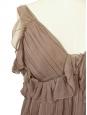 Top débardeur en mousseline de soie plissée rose noisette Px boutique 1400€ Taille 34