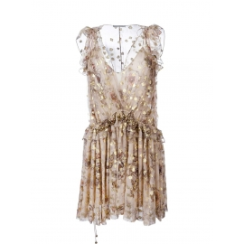 """""""Fil coupé"""" Beige and gold floral print silk chiffon ruffled dress Retail price €2500 Size 36"""