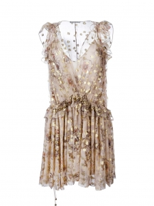 "CHLOE ""Fil coupé"" Beige and gold floral print silk chiffon ruffled dress Retail price €2500 Size 36"