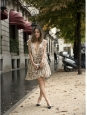 """CHLOE """"Fil coupé"""" Beige and gold floral print silk chiffon ruffled dress Retail price €2500 Size 36"""