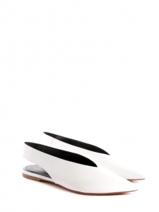 White leather V neck slingback flats NEW Retail price $680 Size 39