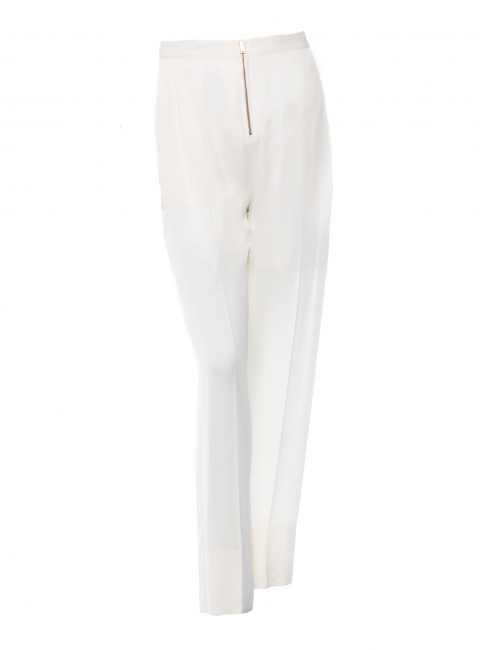 Ivory white crepe fluid pants with gold zip Retail price €800 Size 38