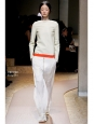 Ivory white crepe fluid pants with silver zip Retail price €800 Size 38