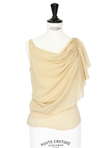 Beige silk asymmetrically draped tank top Retail price €650 Size 34