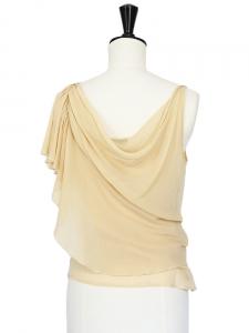 Top débardeur drapé asymétrique en soie beige Px boutique 650€ Taille 34