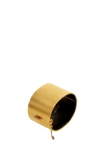 Gold tone textured brass cuff bracelet Retail price €560 Size M