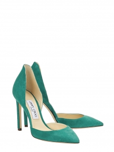 LIZ 100 Emerald green suede stiletto heel pumps Retail price €575 Size 36