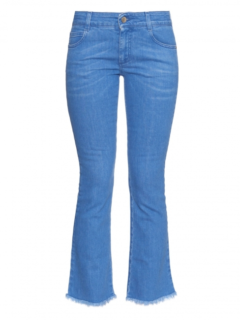 Frayed-hem mid-rise flared cropped blue jeans Retail price €275 Size 26