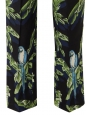 Blue, yellow and green tropical bird print fluid black silk pants Retail price $880 Size 38