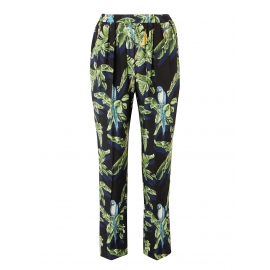 Blue, yellow and green tropical bird print fluid black silk pants Retail price $880 Size 36