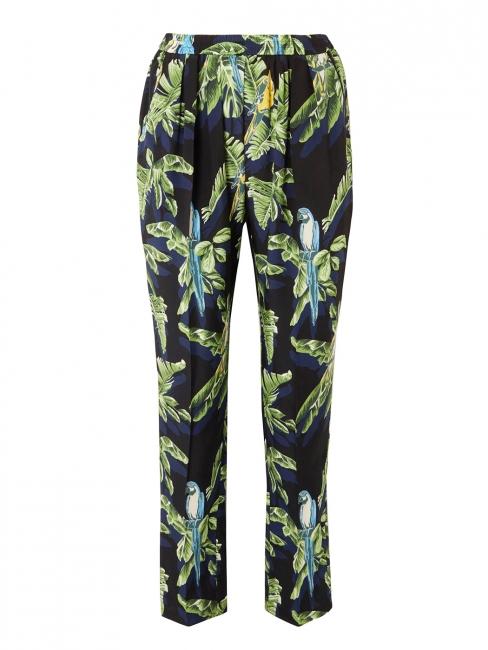 Pantalon fluide en soie imprimé tropical oiseaux de paradis noir vert jaune Prix boutique 880$ Taille 36