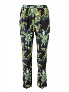 Blue, yellow and green tropical bird print fluid black silk pants Retail price$880 Size 38