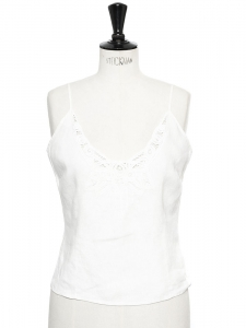 White linen embroidered tank top Size XS