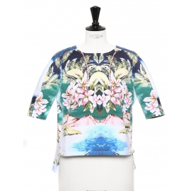 Hawaii printed cotton short sleeved blouse Retail price €490 Size 36