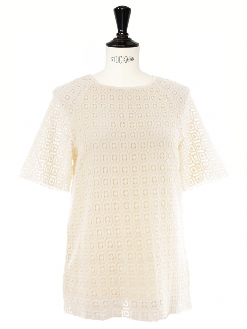 Short sleeves cream white crochet Peggy top by VANESSA SEWARD Size XS