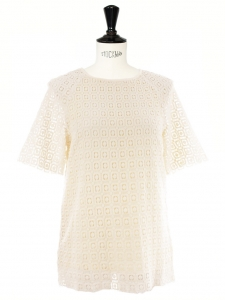 Short sleeves cream white crochet Peggy top by VANESSA SEWARD Size S
