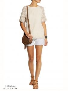 Top manches courtes Peggy par VANESSA SEWARD en crochet blanc crème Taille S