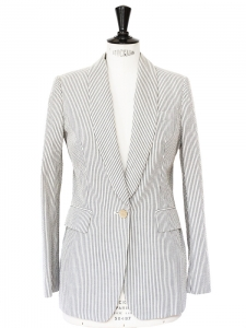 Light grey blue and ivory striped cotton blazer jacket Retail €1400 Size 36/38