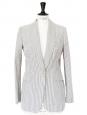 Light grey blue and ivory striped cotton blazer jacket Retail €1400 Size 36/38