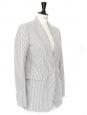 Blazer en coton rayé bleu gris et ivoire Px boutique 1400€ Taille 36/38