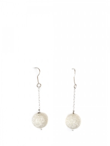 Long earrings with silver color chain and white shiny beads