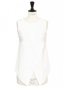 White cotton popeline sleeveless top Retail price €375 Size 36