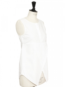 Top sans manche en popeline de coton blanche Prix boutique 375€ Taille 36