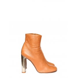 BAM BAM tan leather ankle boots silver heel Retail price €730 Size 39