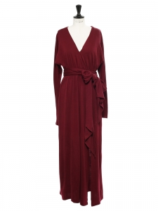 Burgundy red jersey wrapped maxi dress with long sleeves Retail price €450 Size 38