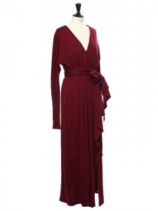 Robe longue en jersey rouge bordeaux manches longues Prix boutique 450€ Taille 38
