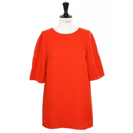 Poppy red short sleeved back buttoned blouse top Retail price €430 Size 40